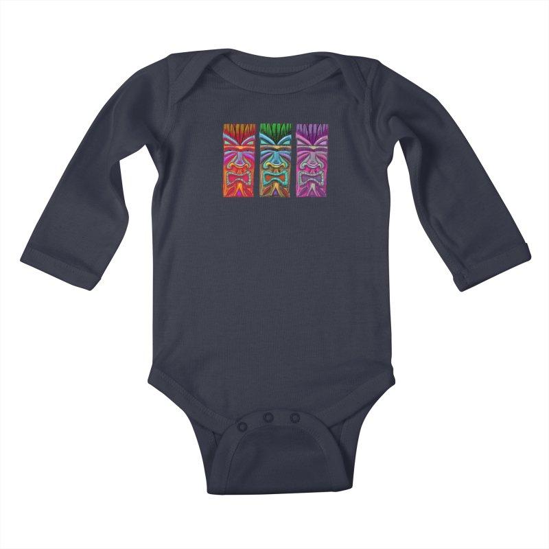 Three Tikis Kids Baby Longsleeve Bodysuit by Magichammer Art By Russ Fagle Shop