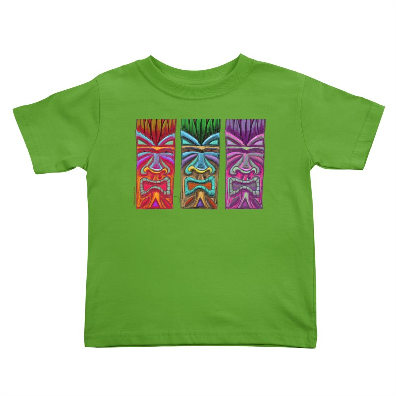 Three Tikis Kids Toddler T-Shirt by Magichammer Art By Russ Fagle Shop