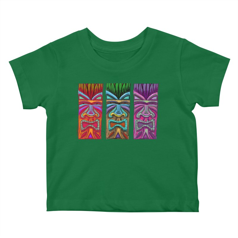 Three Tikis Kids Baby T-Shirt by Magichammer Art By Russ Fagle Shop