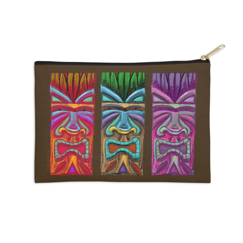 Three Tikis Accessories Zip Pouch by Magichammer Art By Russ Fagle Shop