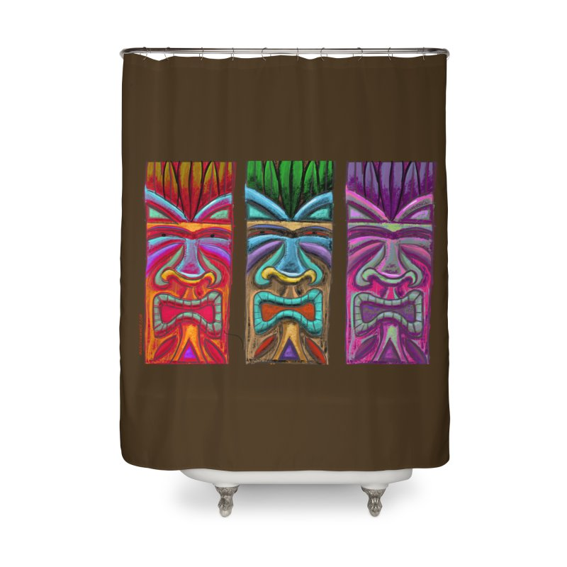 Three Tikis Home Shower Curtain by Magichammer Art By Russ Fagle Shop