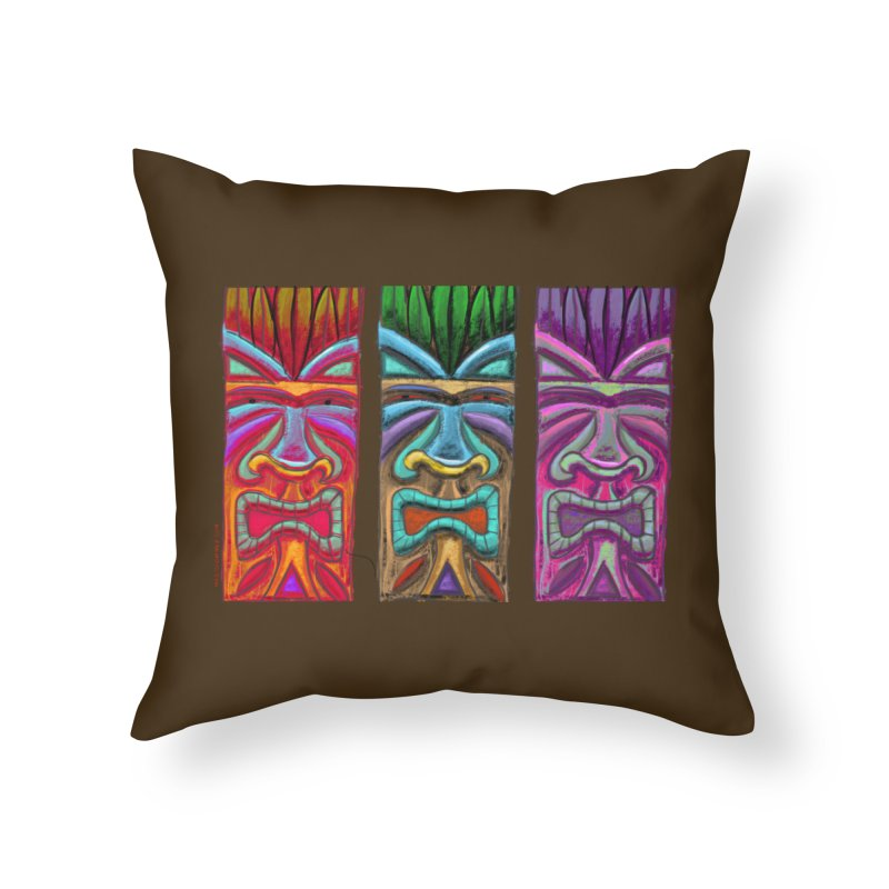 Three Tikis Home Throw Pillow by Magichammer Art By Russ Fagle Shop