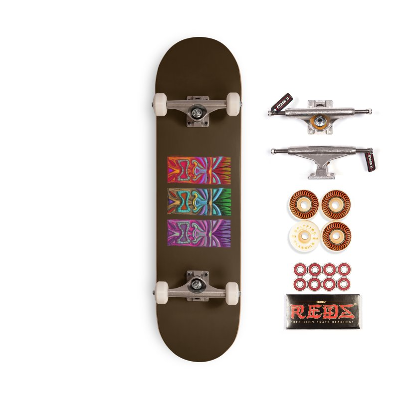Three Tikis Accessories Skateboard by Magichammer Art By Russ Fagle Shop