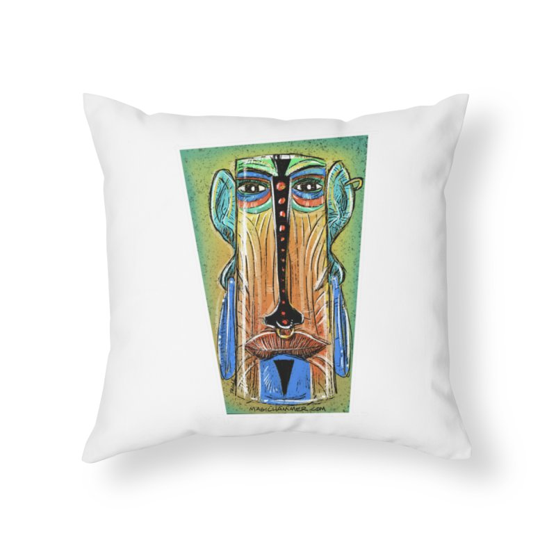 Sketchy Tiki Home Throw Pillow by Magichammer Art By Russ Fagle Shop