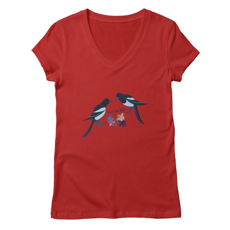 Two magpies Women's V-Neck by MagpieAtMidnight's Artist Shop
