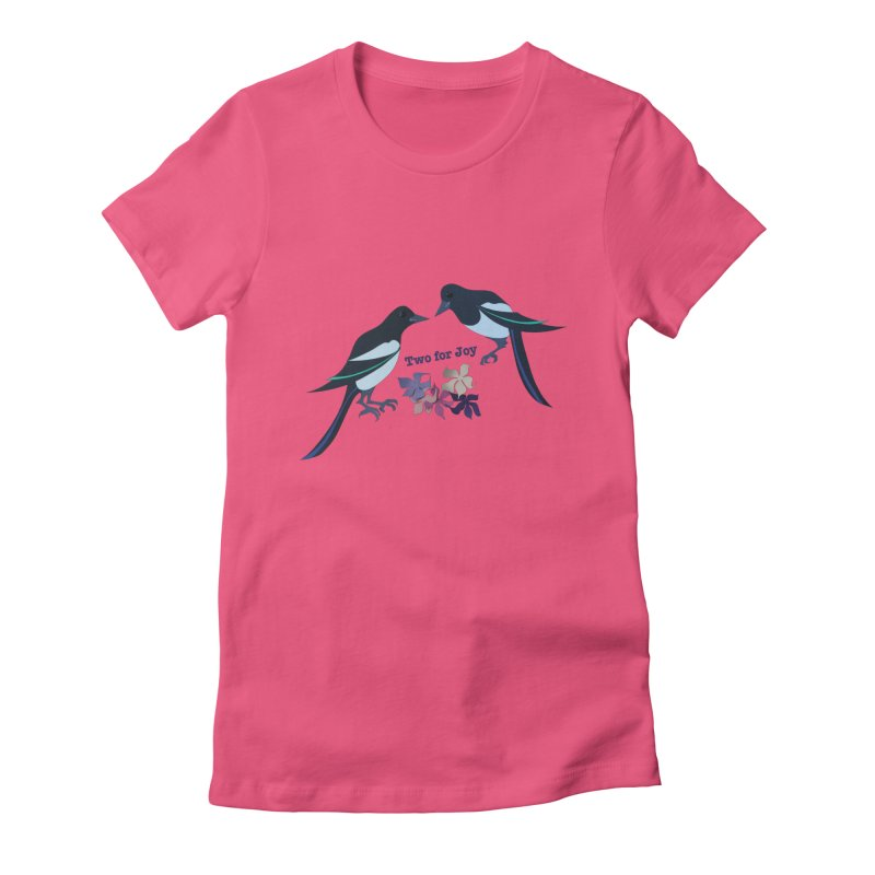 Two magpies Women's Fitted T-Shirt by MagpieAtMidnight's Artist Shop
