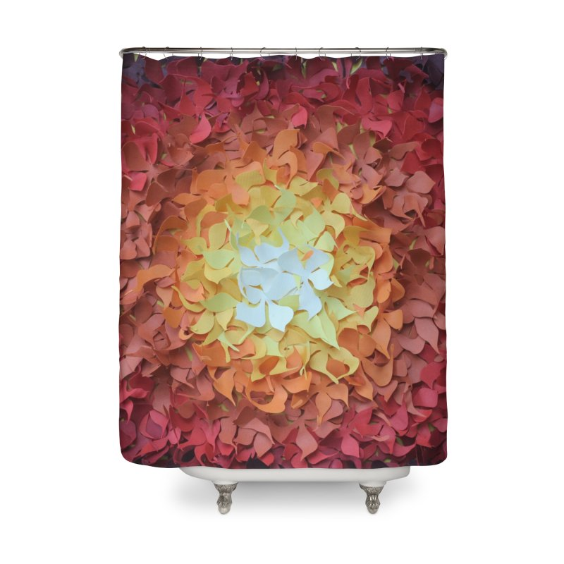 Red orange paper flowers Home Shower Curtain by MagpieAtMidnight's Artist Shop