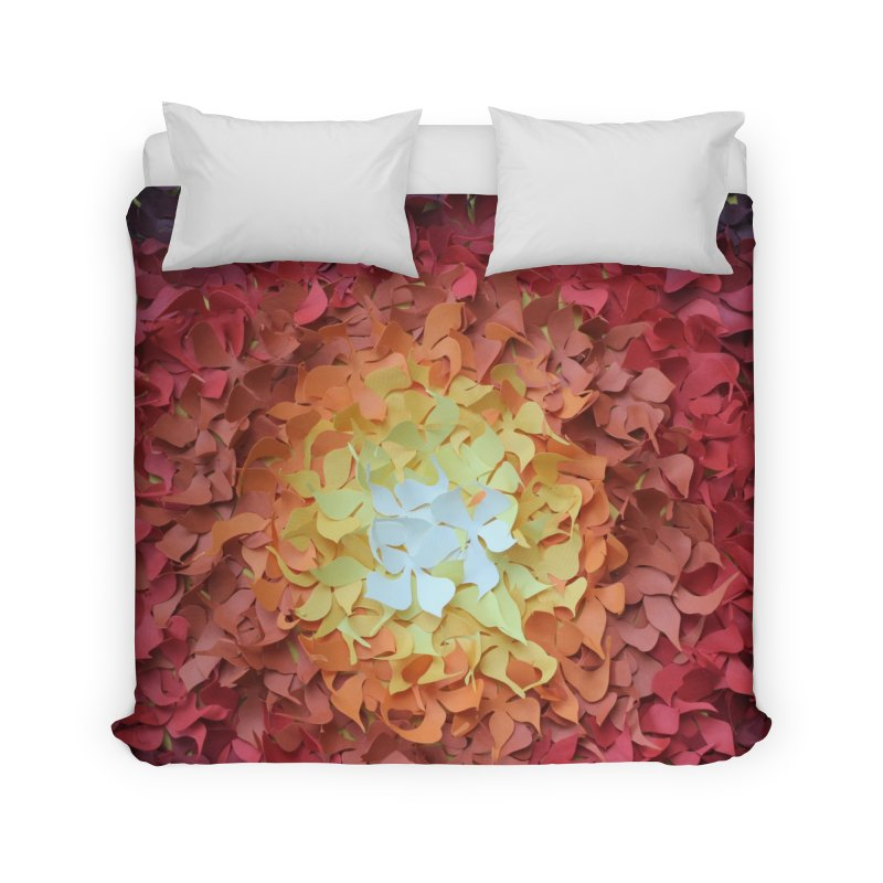 Red orange paper flowers Home Duvet by MagpieAtMidnight's Artist Shop