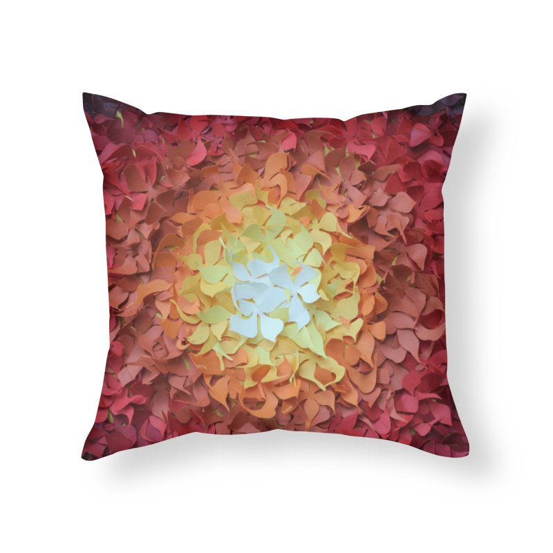 Red orange paper flowers Home Throw Pillow by MagpieAtMidnight's Artist Shop