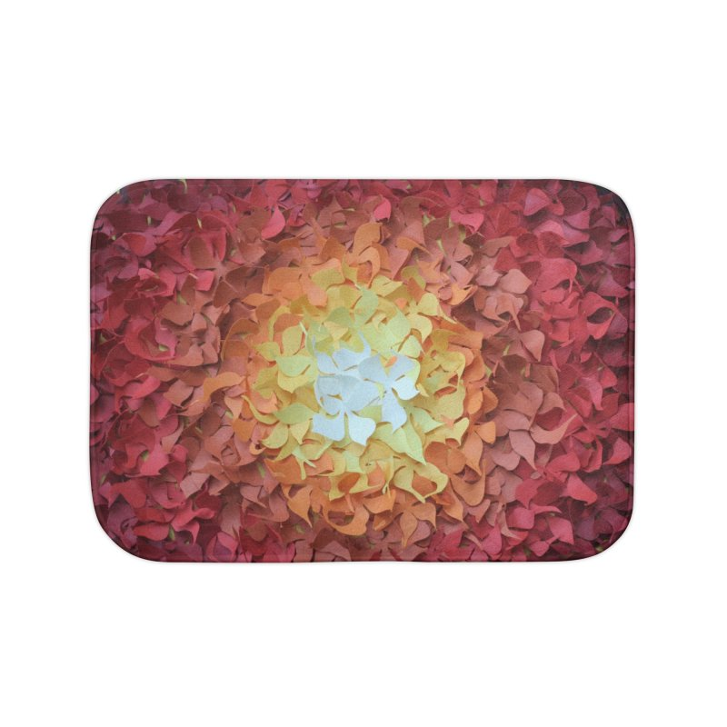 Red orange paper flowers Home Bath Mat by MagpieAtMidnight's Artist Shop