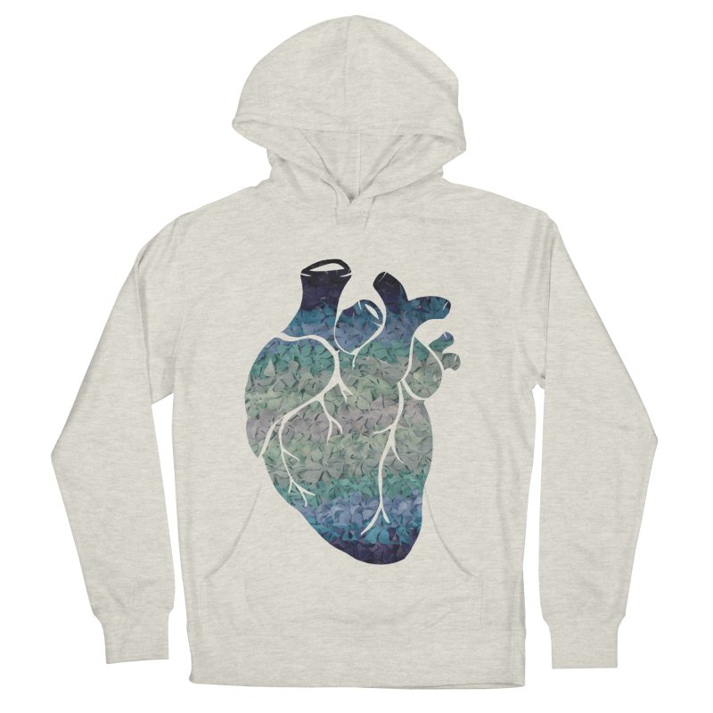 Blue flower heart Men's French Terry Pullover Hoody by MagpieAtMidnight's Artist Shop