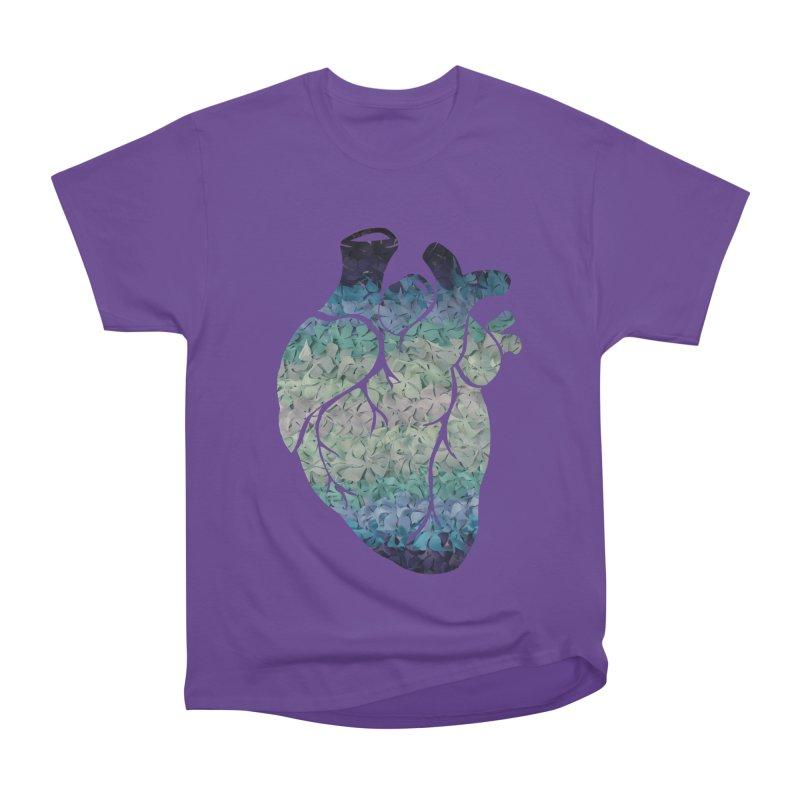 Blue flower heart Women's Heavyweight Unisex T-Shirt by MagpieAtMidnight's Artist Shop