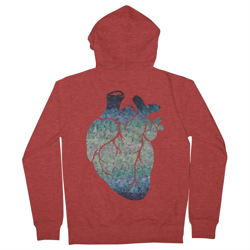 Blue flower heart Women's Zip-Up Hoody by MagpieAtMidnight's Artist Shop