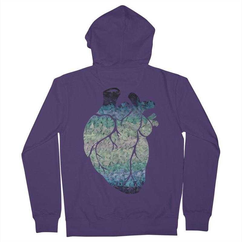 Blue flower heart Women's Zip-Up Hoody by MagpieAtMidnight's Artist Shop
