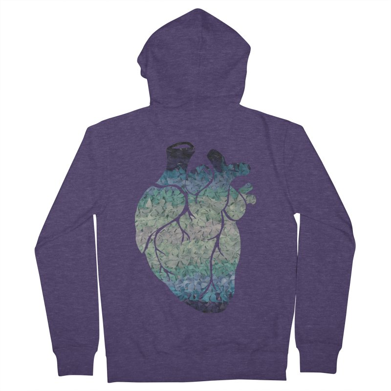 Blue flower heart Men's Zip-Up Hoody by MagpieAtMidnight's Artist Shop