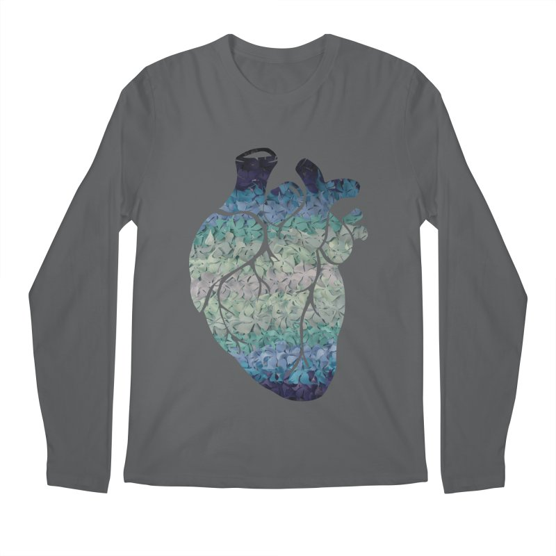 Blue flower heart Men's Regular Longsleeve T-Shirt by MagpieAtMidnight's Artist Shop
