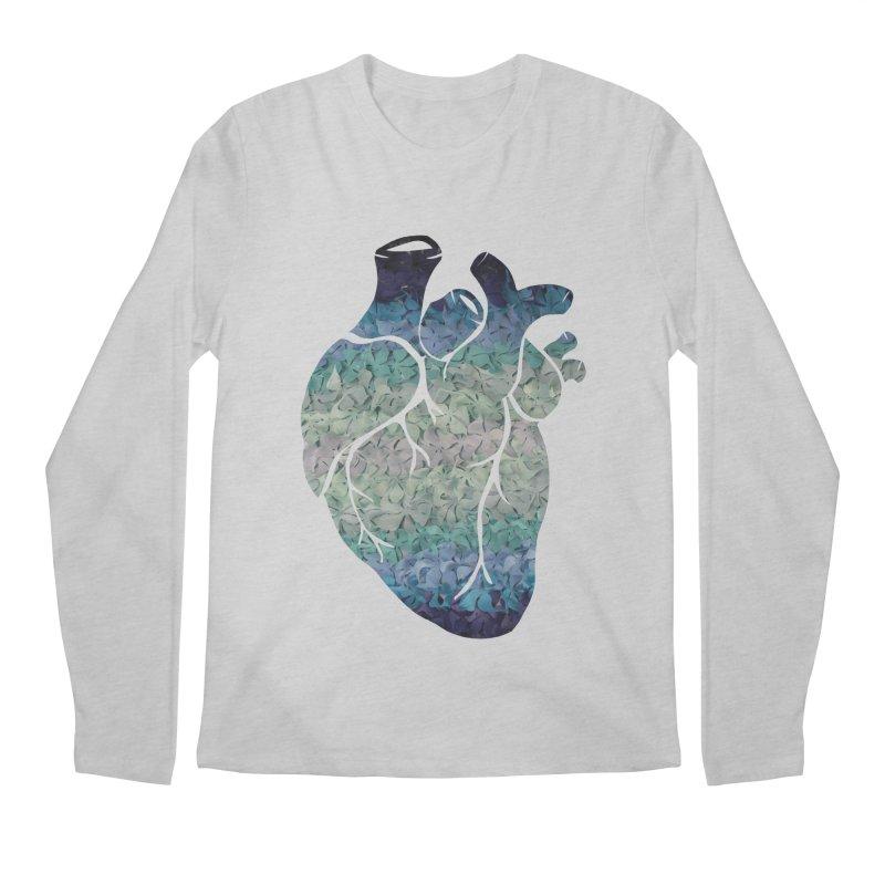 Blue flower heart Men's Longsleeve T-Shirt by MagpieAtMidnight's Artist Shop