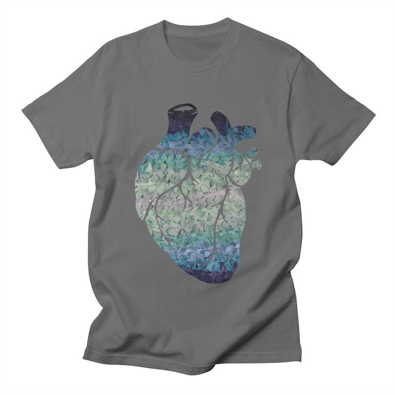 Blue flower heart Men's T-Shirt by MagpieAtMidnight's Artist Shop