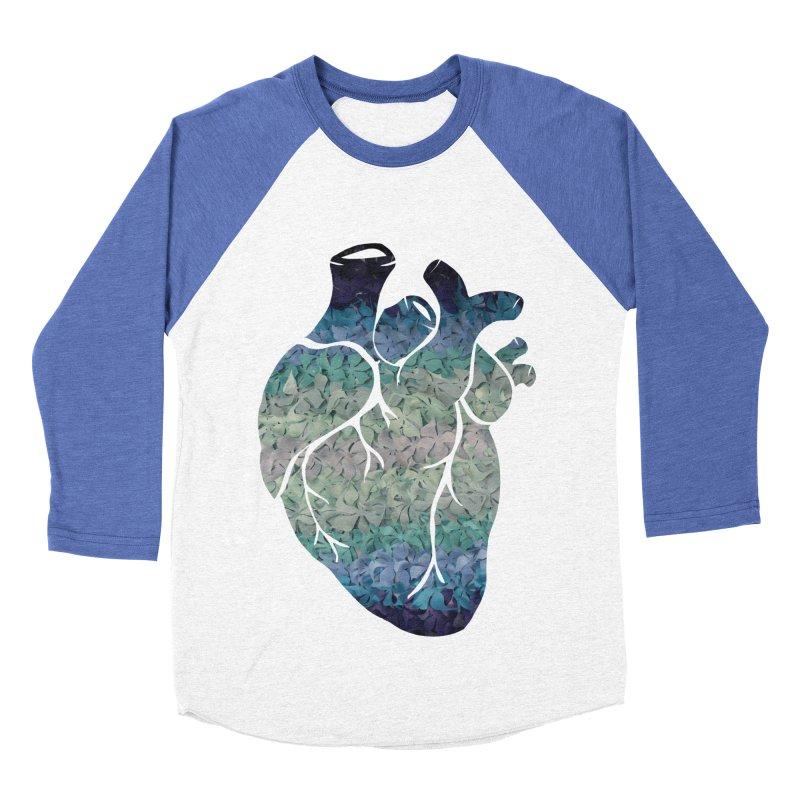 Blue flower heart Women's Baseball Triblend T-Shirt by MagpieAtMidnight's Artist Shop