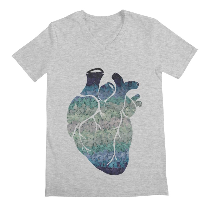 Blue flower heart Men's Regular V-Neck by MagpieAtMidnight's Artist Shop