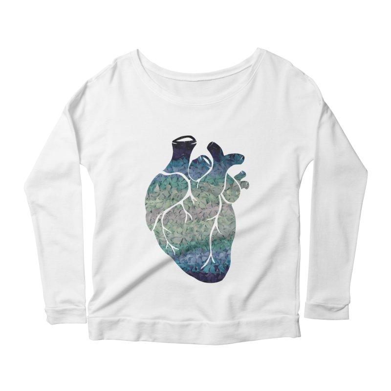 Blue flower heart Women's Scoop Neck Longsleeve T-Shirt by MagpieAtMidnight's Artist Shop