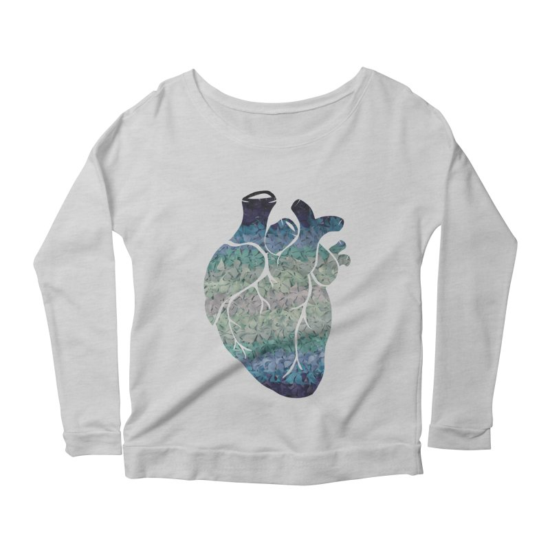 Blue flower heart Women's Longsleeve Scoopneck  by MagpieAtMidnight's Artist Shop