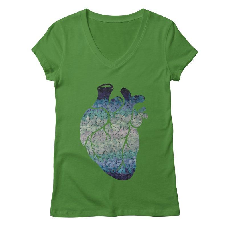 Blue flower heart Women's V-Neck by MagpieAtMidnight's Artist Shop