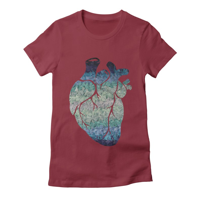 Blue flower heart Women's Fitted T-Shirt by MagpieAtMidnight's Artist Shop