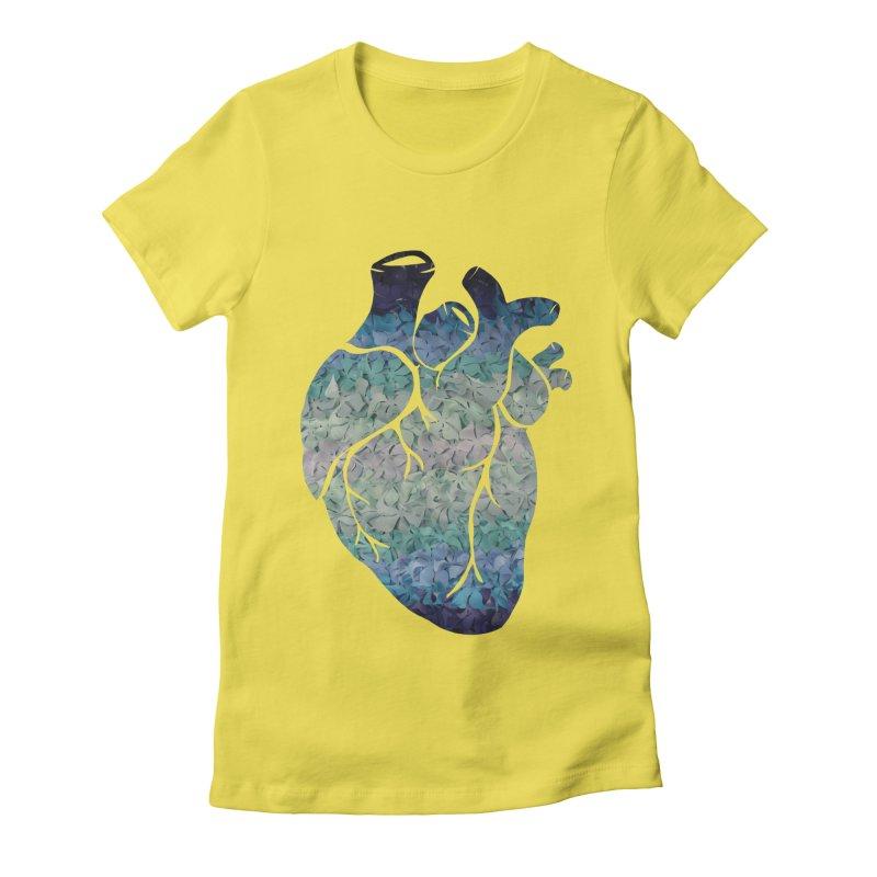 Blue flower heart Women's Fitted T-Shirt by MagpieAtMidnight's Artist Shop