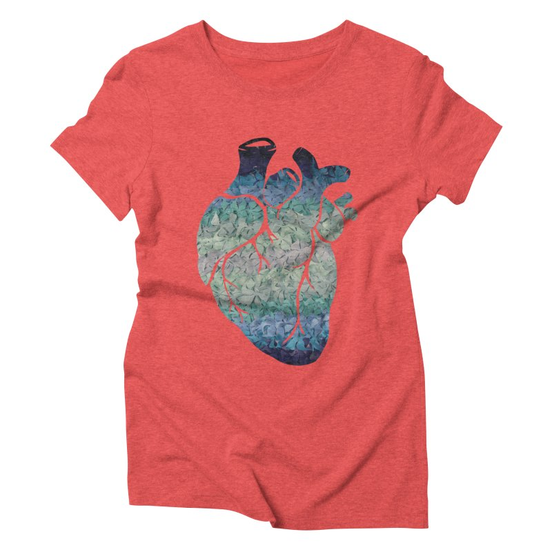 Blue flower heart Women's Triblend T-Shirt by MagpieAtMidnight's Artist Shop