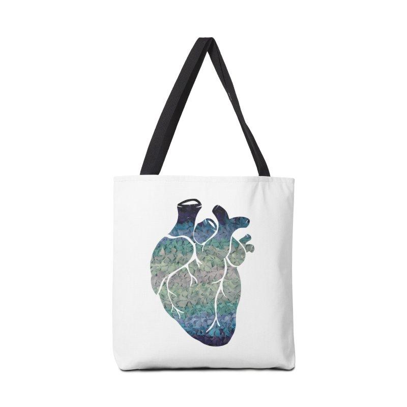 Blue flower heart Accessories Bag by MagpieAtMidnight's Artist Shop