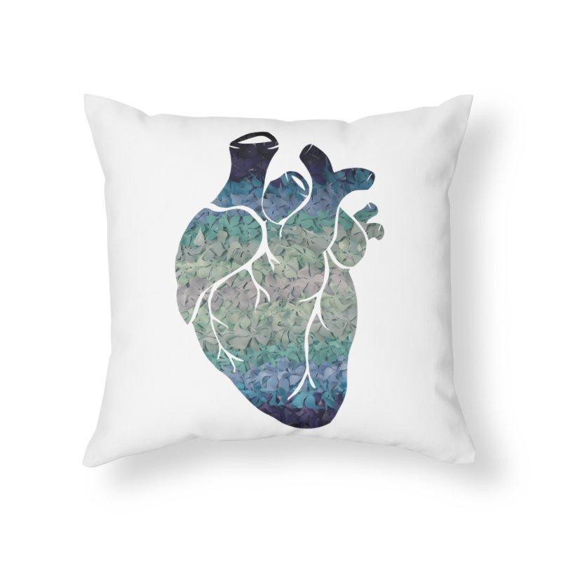 Blue flower heart Home Throw Pillow by MagpieAtMidnight's Artist Shop