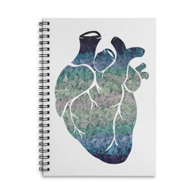 Blue flower heart Accessories Notebook by MagpieAtMidnight's Artist Shop