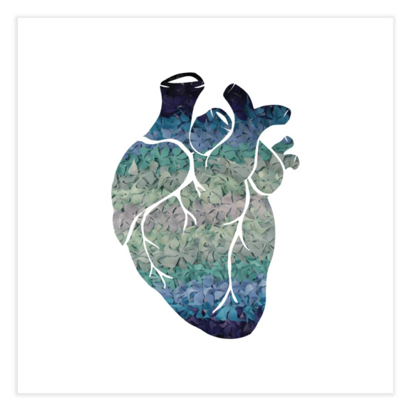 Blue flower heart Home Fine Art Print by MagpieAtMidnight's Artist Shop
