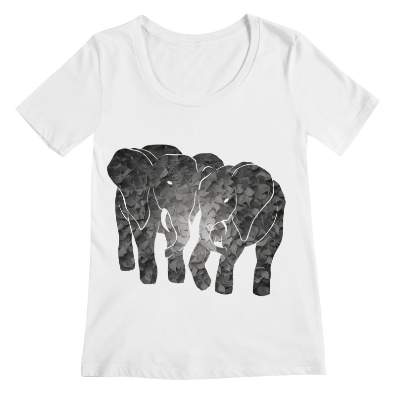 Two elephants Women's Regular Scoop Neck by MagpieAtMidnight's Artist Shop