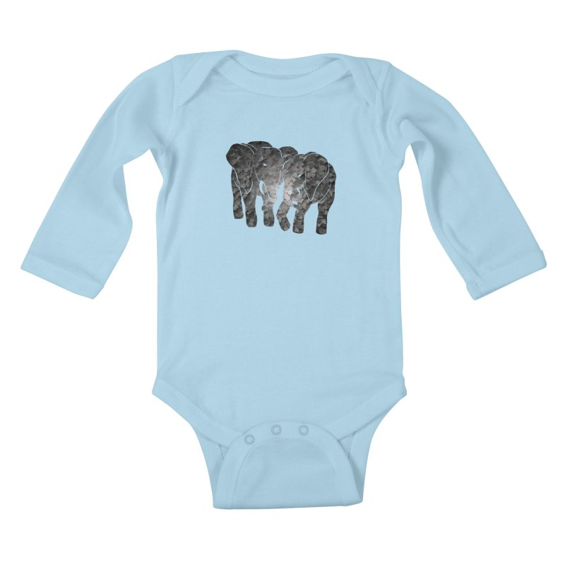 Two elephants Kids Baby Longsleeve Bodysuit by MagpieAtMidnight's Artist Shop