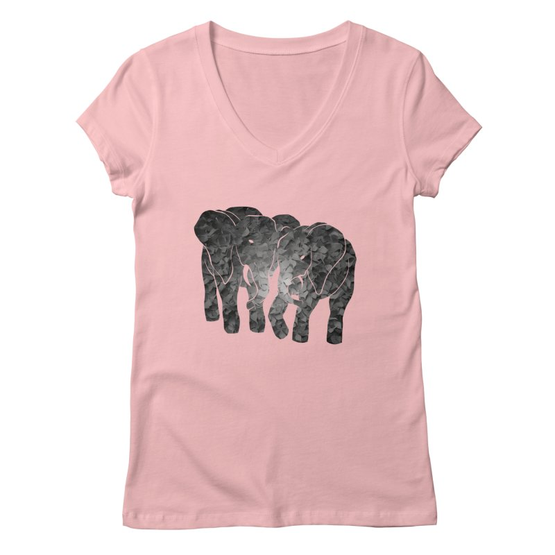 Two elephants Women's V-Neck by MagpieAtMidnight's Artist Shop