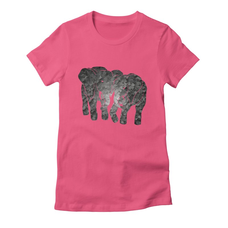 Two elephants Women's Fitted T-Shirt by MagpieAtMidnight's Artist Shop