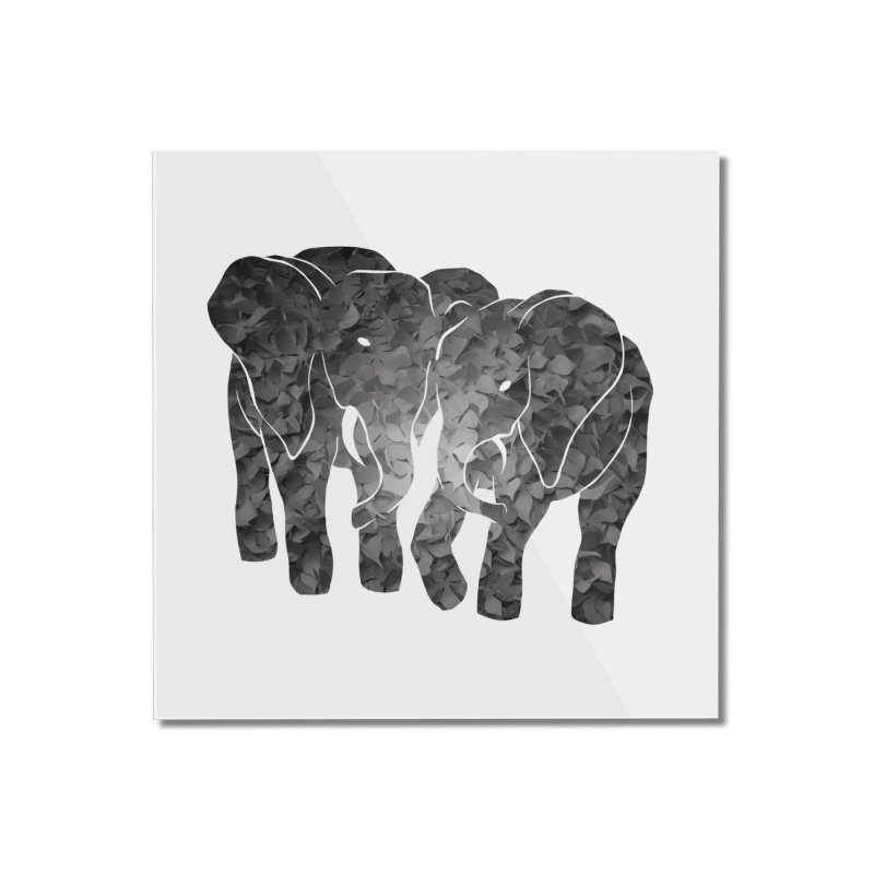 Two elephants Home Mounted Acrylic Print by MagpieAtMidnight's Artist Shop