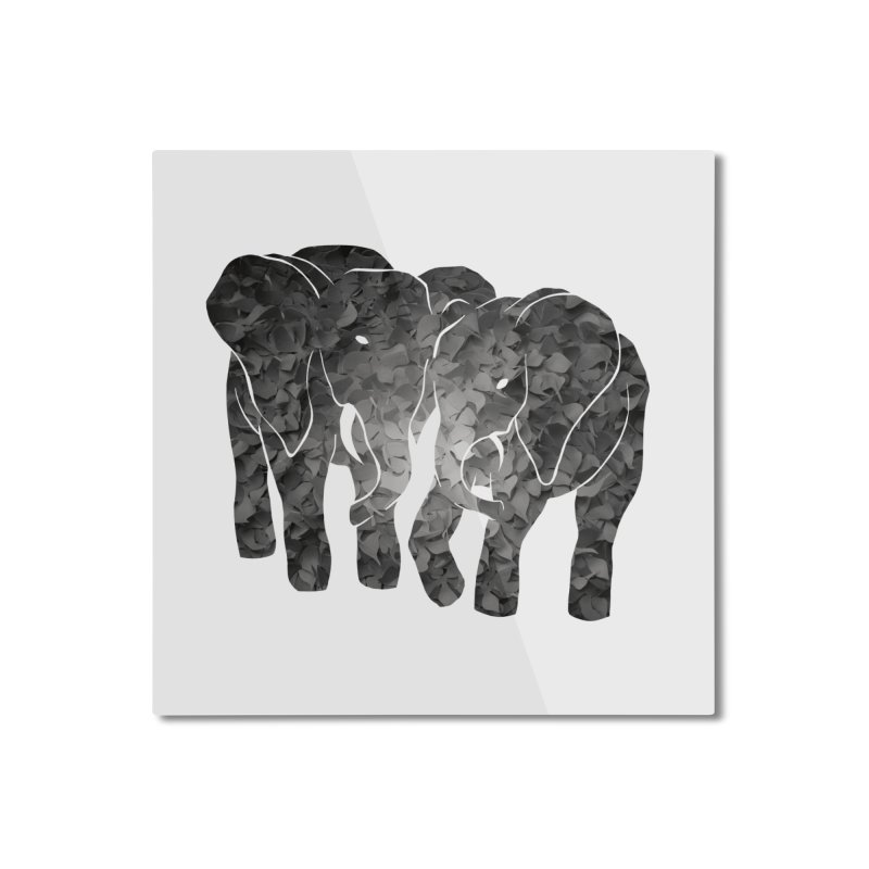 Two elephants Home Mounted Aluminum Print by MagpieAtMidnight's Artist Shop