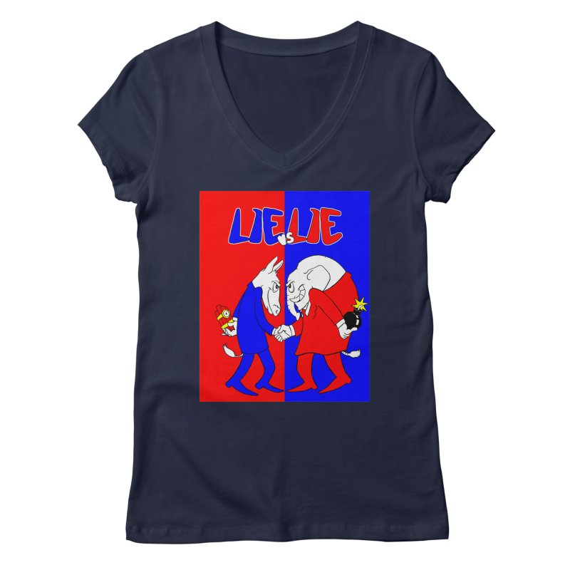 Lie vs Lie Women's V-Neck by Make2wo Artist Shop