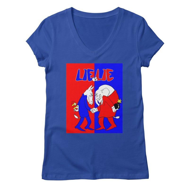 Lie vs Lie Women's V-Neck by Make2wo Artist Shop