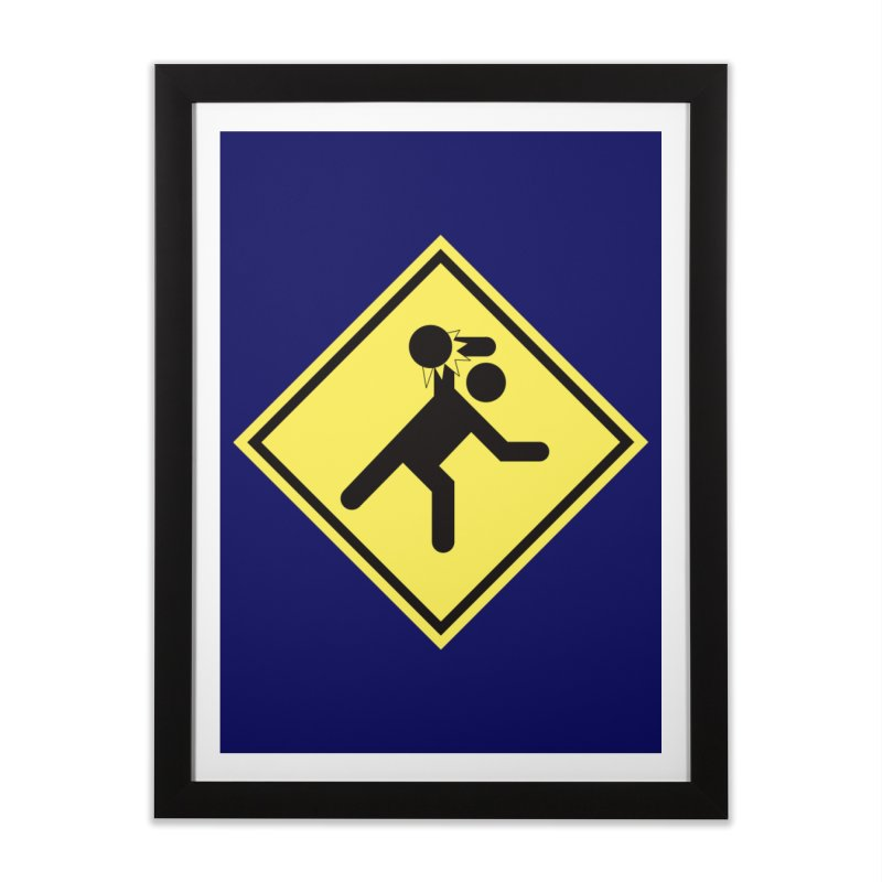Dodgeball Caution Home Framed Fine Art Print by Make2wo Artist Shop