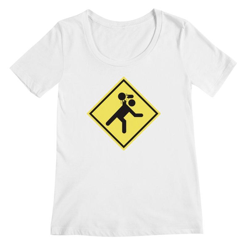 Dodgeball Caution Women's Scoopneck by Make2wo Artist Shop