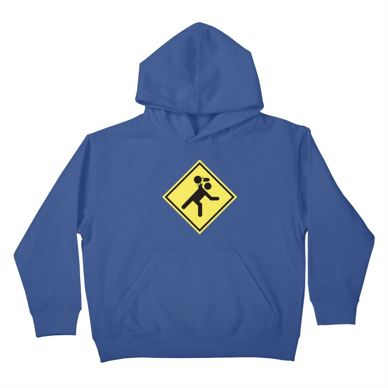 Dodgeball Caution Kids Pullover Hoody by Make2wo Artist Shop