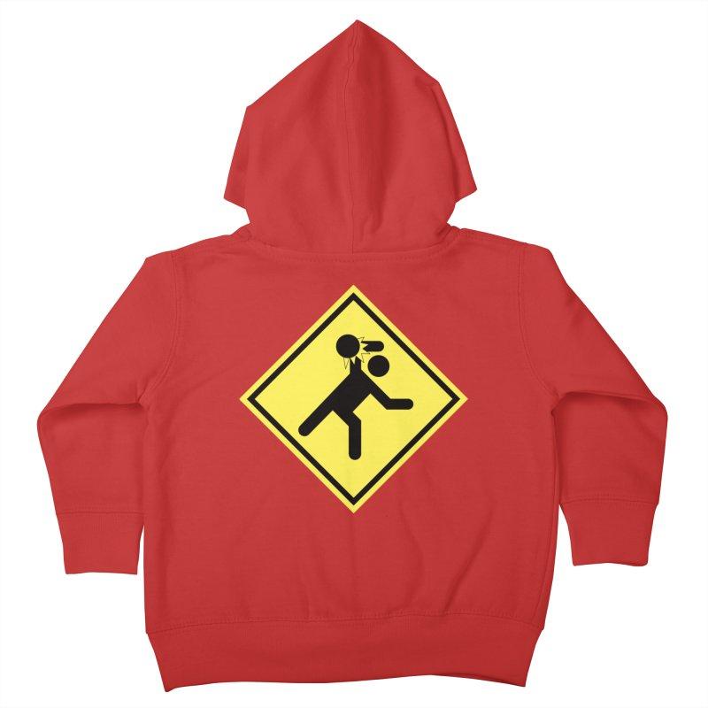 Dodgeball Caution Kids Toddler Zip-Up Hoody by Make2wo Artist Shop