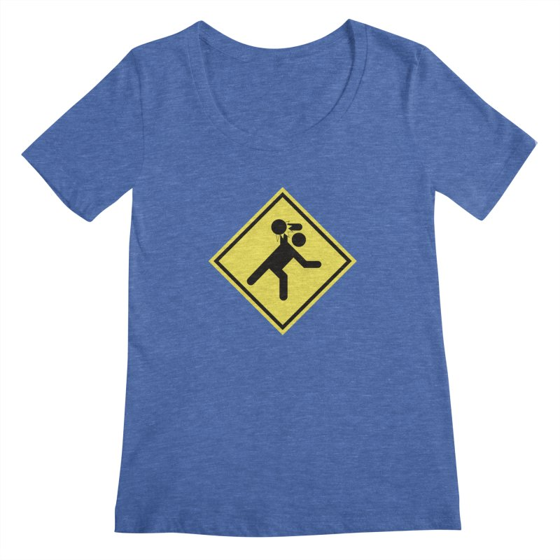 Dodgeball Caution Women's Scoopneck by Make2wo Artist Shop