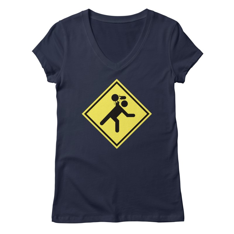 Dodgeball Caution Women's V-Neck by Make2wo Artist Shop