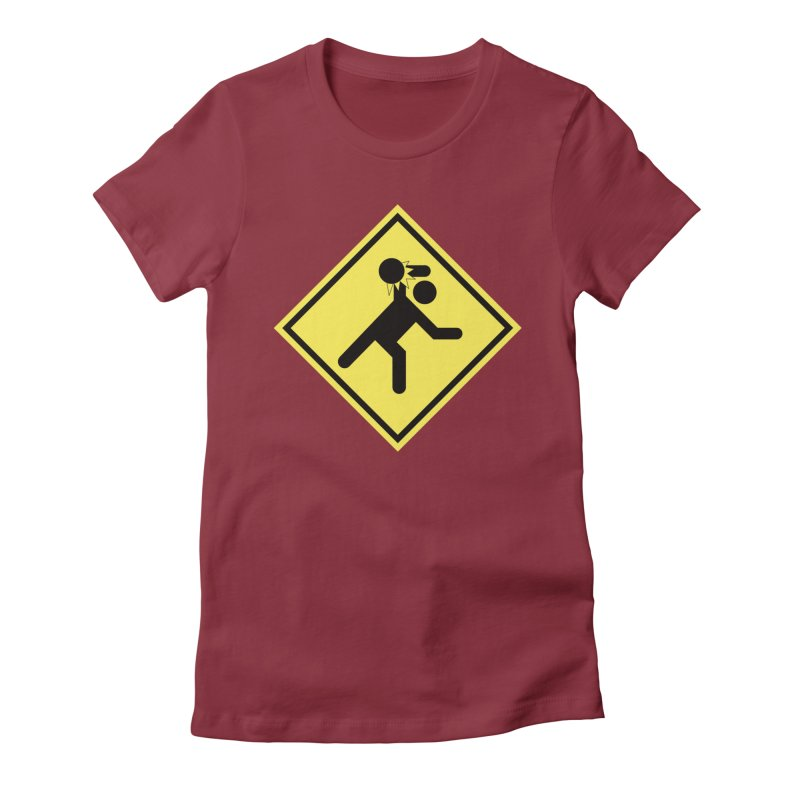 Dodgeball Caution Women's Fitted T-Shirt by Make2wo Artist Shop