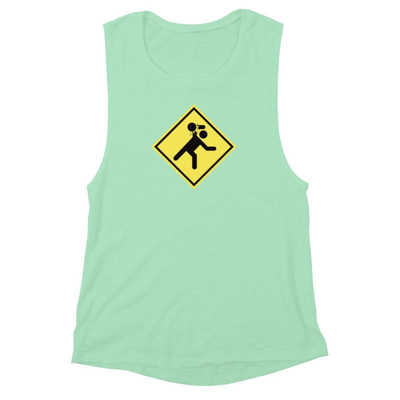 Dodgeball Caution Women's Muscle Tank by Make2wo Artist Shop